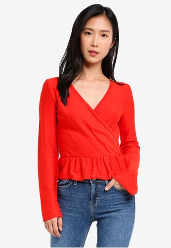 TOPSHOP red Solid Peplum Wrap TO412AA0SIVWMY_1