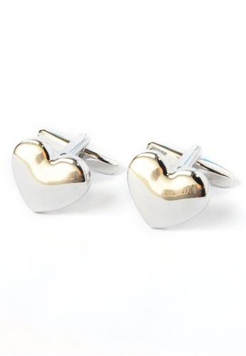 Splice Cufflinks silver Domed Metal Love Heart Cufflinks SP744AC60ZKHSG_1