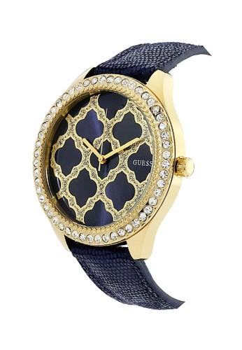 Jual Guess Watch Guess Jam Tangan Wanita - Blue Gold - Leather Strap - W0579L6 Original | ZALORA Indonesia ®