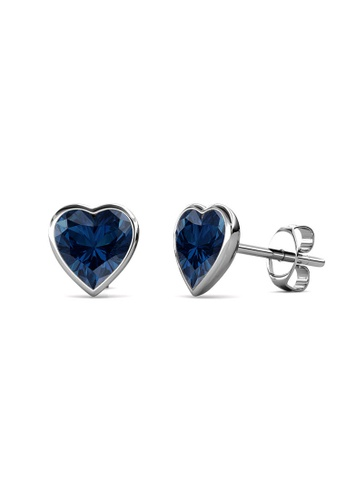 Her Jewellery silver Sweet Stone Earrings (Dark Blue) -  Made with premium grade crystals from Austria FA7C3AC6C5AF85GS_1