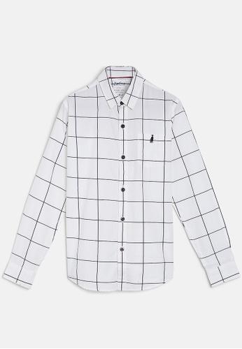 ZALZA white Rock Rose 100% Organic Cotton Woven Boys Long Sleeve Shirt - White checks 2E8A1KADEFE1ECGS_1