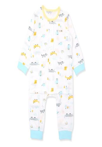 Organic mom white and multi Organic Cotton Andy Crocodile Lightweight Long Sleeves Pjs A6868KA59D166EGS_1