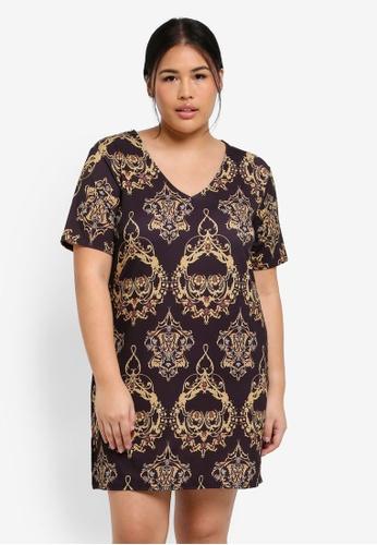 MISSGUIDED black Plus Size Baroque Print Tshirt Dress 49363AA59B8779GS_1