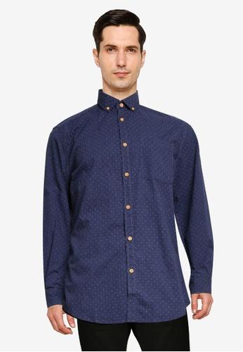 Springfield 藍色 印花襯衫 3E664AA2E4FB6FGS_1