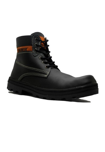 Cut Engineer black Cut Engineer Iron Safety Boots Classic Leather Black CU226SH91YKEID_1