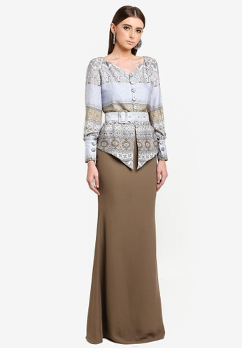 Meryem Belted Modern Kurung from YADOTSA for ZALORA in Blue and Multi