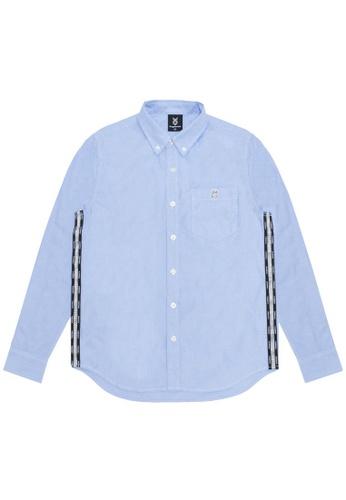 Fingercroxx navy Bigfoot side taped shirt 9A57DAA266C447GS_1