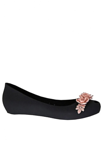 Twenty Eight Shoes black 3D Flora Hidden Heel Jelly Rain Shoes VR379 59703SHD5B6E45GS_1
