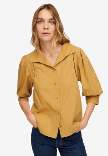 Mango yellow Puffed Sleeves Cotton Blouse F6720AA01C035CGS_1