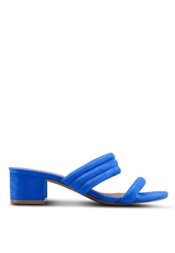 TOPSHOP 藍色 麂皮粗跟穆勒鞋 1F2FCSH2160C77GS_1