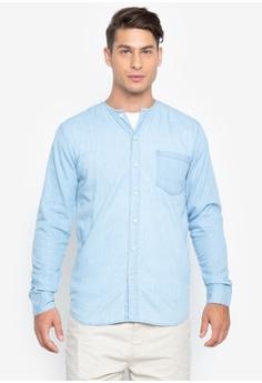 8b8ec8bff5c9c9 Folded   Hung blue Collarless Chambray Button Down Shirt 05D70AA3960183GS 1