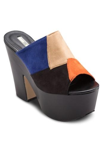 混合拼接厚底粗跟楔型esprit門市地址鞋, 女鞋, 鞋