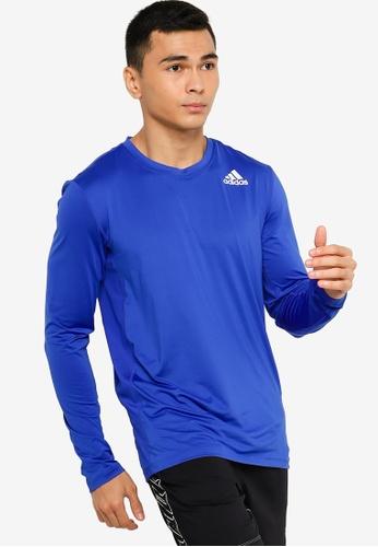 ADIDAS blue techfit fitted long sleeve tee 060CDAA674262DGS_1