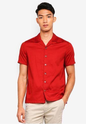 Topman red Red Dobby Revere Short Sleeve Shirt 7DE1CAA76D4C4BGS_1
