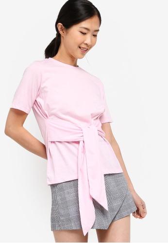 ZALORA BASICS pink Basic Tie Front T-Shirt C5767AA6C9C9A4GS_1