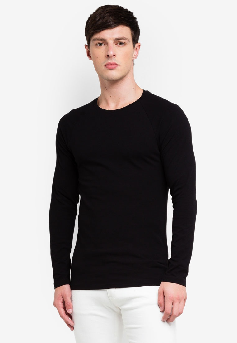 Shirt Fit Menswear London Black T Burton Raglan Black Long Sleeve Muscle 4RAwqfS