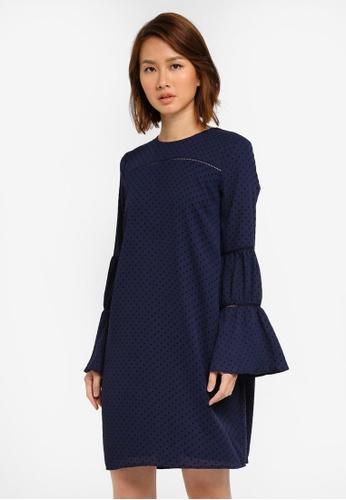 WAREHOUSE navy Dobby Lace Insert Dress WA653AA0SI3PMY_1