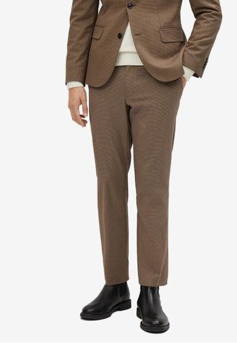 Mango Man beige Micro Houndstooth Wool-Blend Slim-Fit Trousers 23D3EAACEC3390GS_1