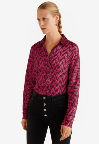 Mango pink Geometric Print Shirt C30E2AA38951E5GS_1
