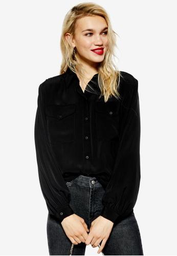 TOPSHOP 黑色 Smart Pocket Shirt 44A62AA94E156BGS_1
