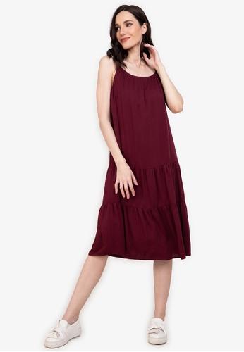 ZALORA BASICS red Tiered Cami Dress 31A0EAA81790A5GS_1