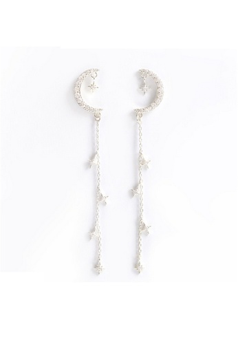 Crystal Korea Fashion silver Korean Made Moon Rhinestone Long Earrings 85720AC87C3674GS_1