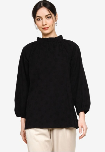 ZALIA BASICS black Ruffled Collar Blouse A7EF6AAE32454AGS_1