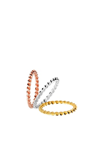 ELLI GERMANY multi Elli Germany Ring Twisted Stacking Tri-Color 925 Silver Gold Plated C379DAC9E14E1FGS_1