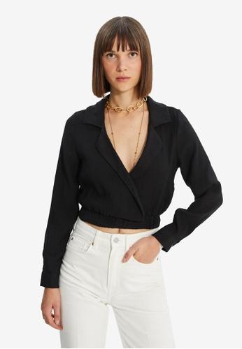 Trendyol black Shawl Collar Wrap Crop Top 22EC5AA8EA2EF6GS_1