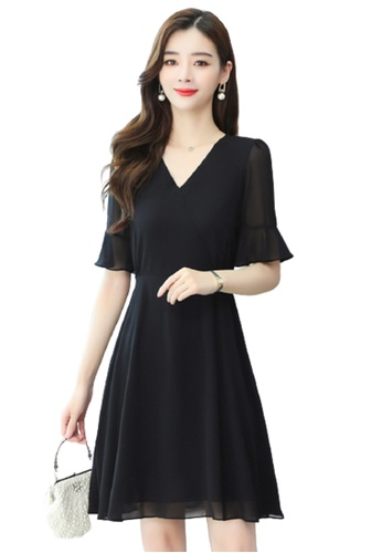 Halo black V Neck Chiffon Dress 86F3AAA6C52BE7GS_1