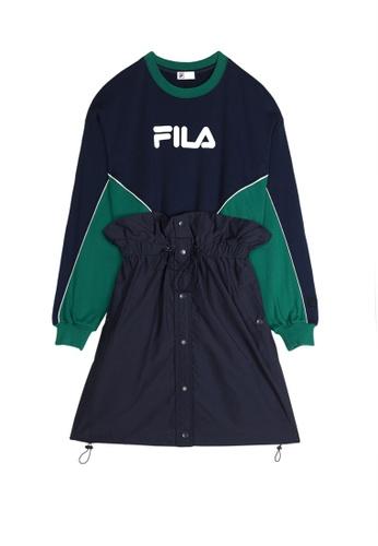 FILA green FILA x SNIDEL FILA Logo Long Sleeves Dress AA1B5AAE870C79GS_1