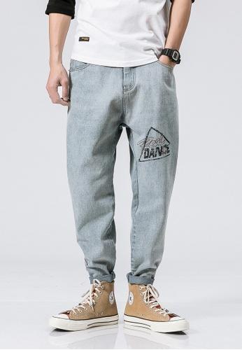 hk-ehunter blue Casual Regular Fit Denim Jeans 58D26AAC836B56GS_1