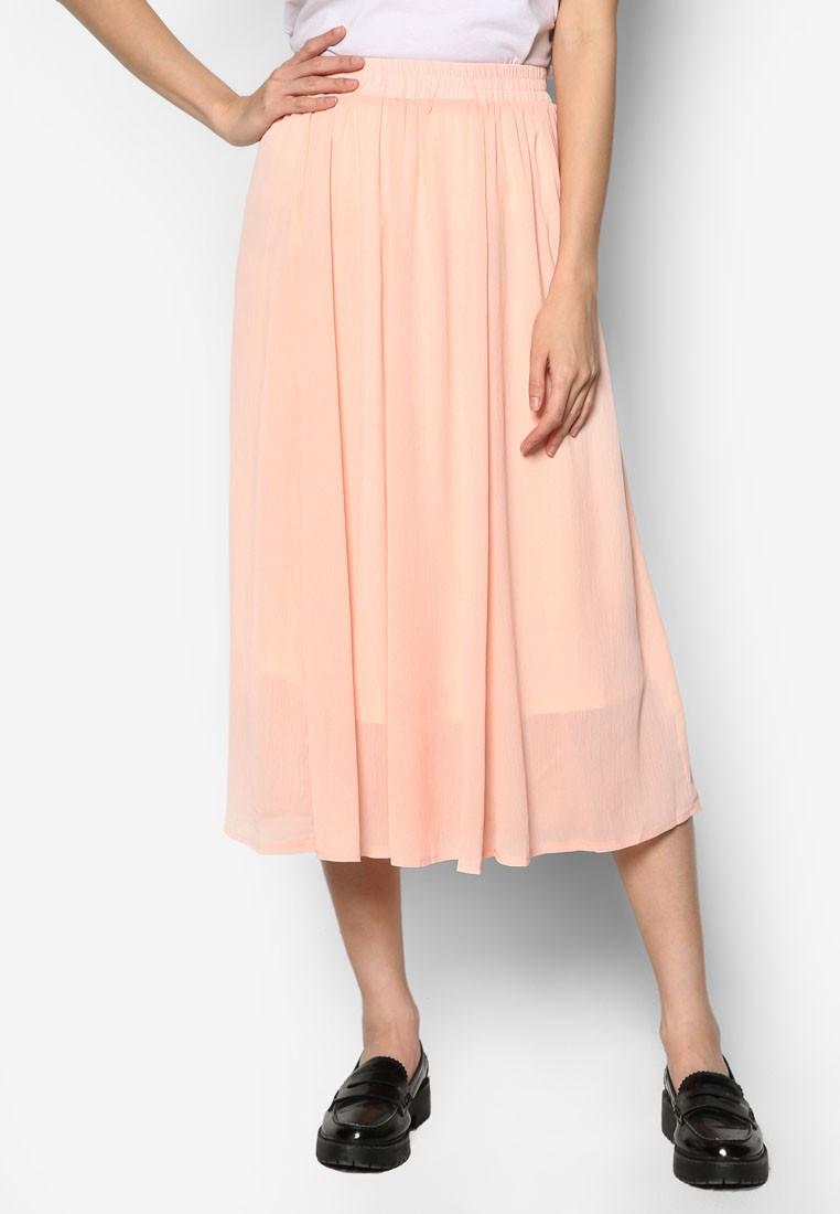 Flare Chiffon Midi Skirt