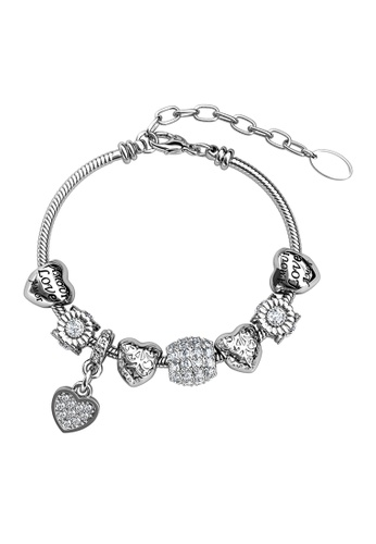 Her Jewellery Ti'Amo Charm Bracelet (White Gold) - Made with premium grade crystals from Austria 13FCBAC5ACDE5FGS_1