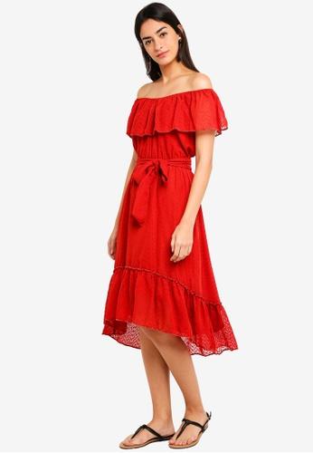 Max Studio red Woven Ruffle Dress 053A8AAE094F7DGS_1