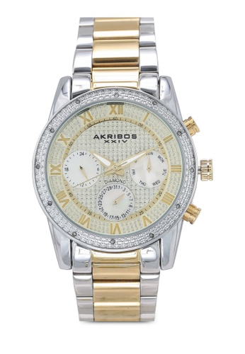 Akribos XXIV silver and gold Diamond Date Beaded Watch 3F037ACD04A073GS_1