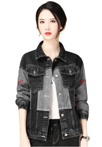 A-IN GIRLS black Simple Stitching Denim Jacket C332FAA7D0BDDBGS_1