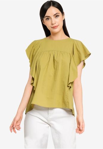 LOWRYS FARM yellow Ruffled Sleeves Blouse B77E3AA687B348GS_1