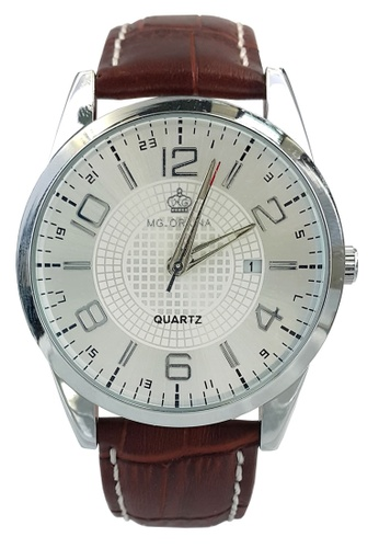Chronomart brown and silver Men's Business Bilingual Date Display Leather Strap Wrist Watch ORK-0221 CH783AC27CCUPH_1