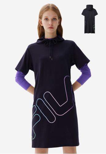 FILA navy Gradient Color Slash FILA Logo Cotton Hooded Dress FB8EAAA319166DGS_1