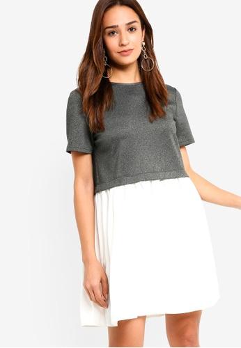 ZALORA grey and white Babydoll Mix Fabric Dress E31E5AA57B4E10GS_1