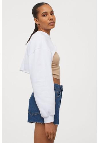 H&M white Cropped sweatshirt AB094AAA8DC361GS_1