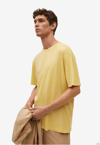 MANGO Man yellow Relaxed Fit Cotton T-Shirt B2925AAF74EA42GS_1