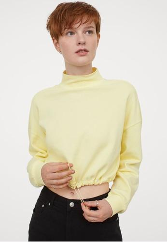 H&M yellow Drawstring Sweatshirt 72E3CAA1E38FCCGS_1