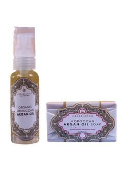 Pure Organic Moroccan Argan Oil 60ml with Moroccan Argan Oil Mangosteen Whitening Soap 135g Bundle