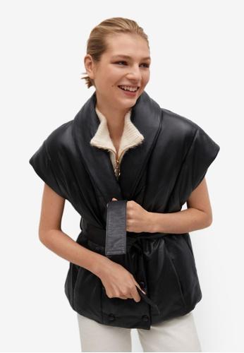 Mango black Belted Leather Gilet FB20CAAF5A9C83GS_1
