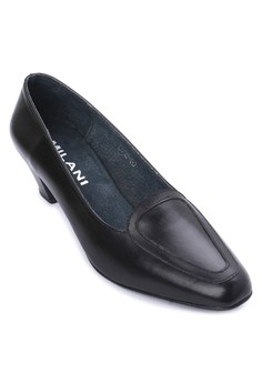 Lea Executive Helga Round Toe Leather Shoes Mid Heel