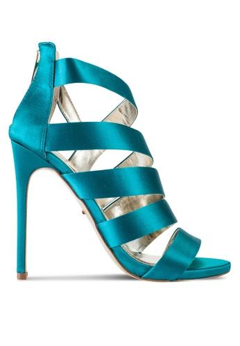 Carvela KG 綠色 露趾繞踝綢緞高跟鞋 CA459SH42XPXMY_1