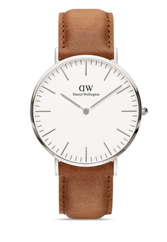 Daniel Wellington brown and silver Classic Durham 40mm Silver Watch 5CA07AC20D1E2DGS_1