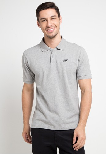 New Balance grey Cotton Pique Polo FF057AAC1F6909GS_1